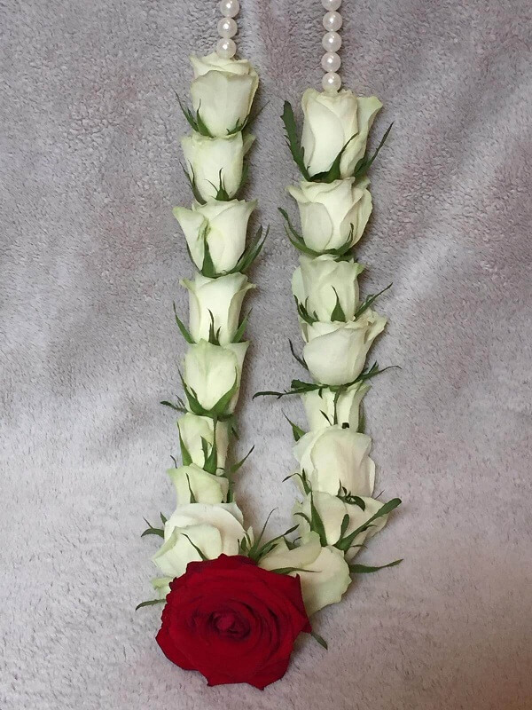 White Wedding Garland with red rose